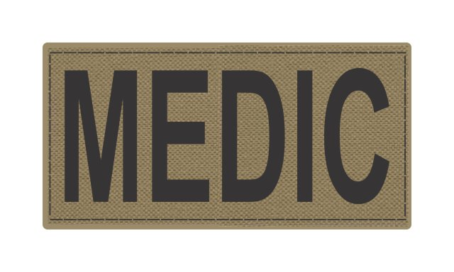MEDIC Patch - 4x2 - Black Lettering - Tan Backing - Hook Fabric