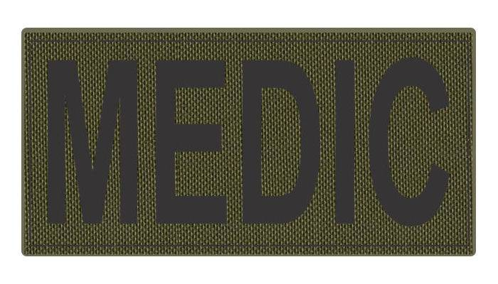 MEDIC Patch - 4x2 - Black Lettering - OD Green Backing - Hook Fabric