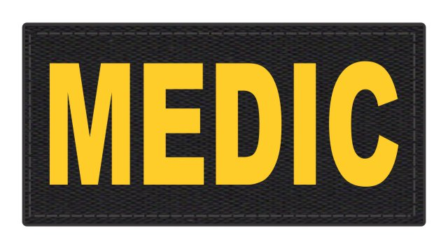 MEDIC Patch - 4x2 - Gold Lettering - Black Backing - Hook Fabric