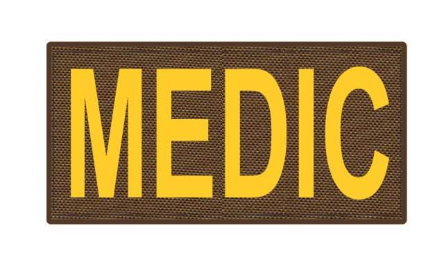MEDIC Patch - 4x2 - Gold Lettering - Coyote Backing - Hook Fabric