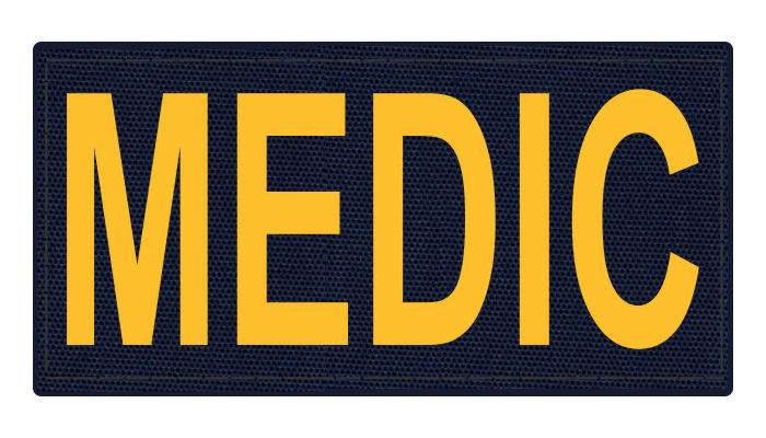 MEDIC Patch - 4x2 - Gold Lettering - Navy Backing - Hook Fabric