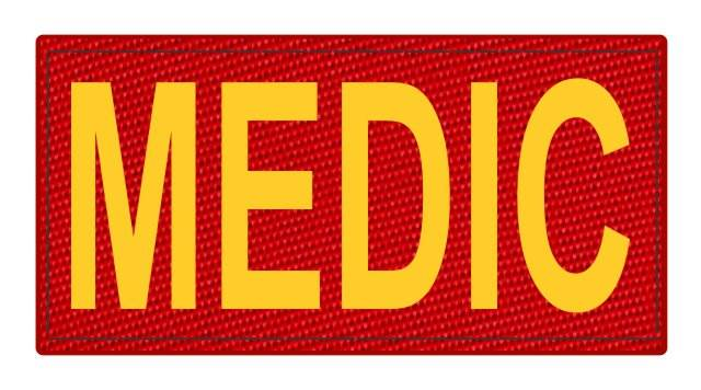 MEDIC Patch - 4x2 - Gold Lettering - Red Backing - Hook Fabric