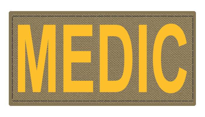 MEDIC Patch - 4x2 - Gold Lettering - Tan Backing - Hook Fabric