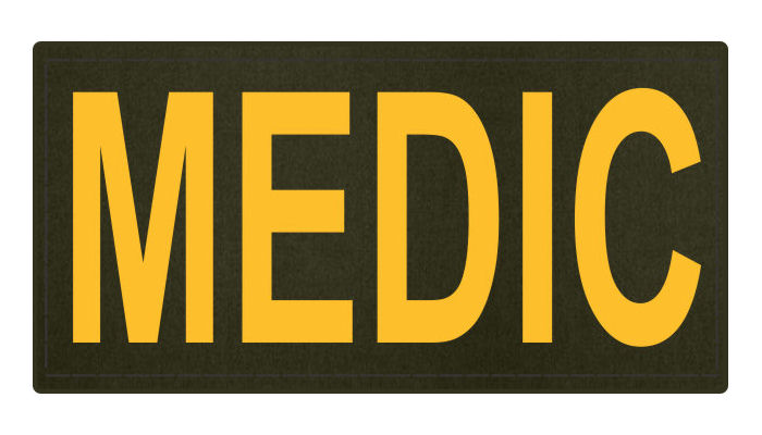 MEDIC Patch - 4x2 - Gold Lettering - OD Green Backing - Hook Fabric