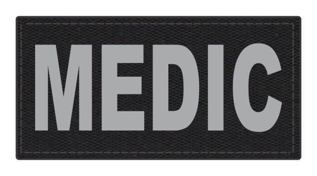MEDIC Patch - 4x2 - Gray Lettering - Black Backing - Hook Fabric