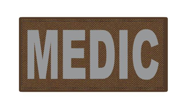 MEDIC Patch - 4x2 - Gray Lettering - Coyote Backing - Hook Fabric