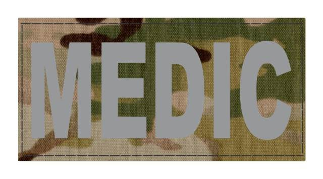 MEDIC Patch - 4x2 - Gray Lettering - Mullticam Backing - Hook Fabric