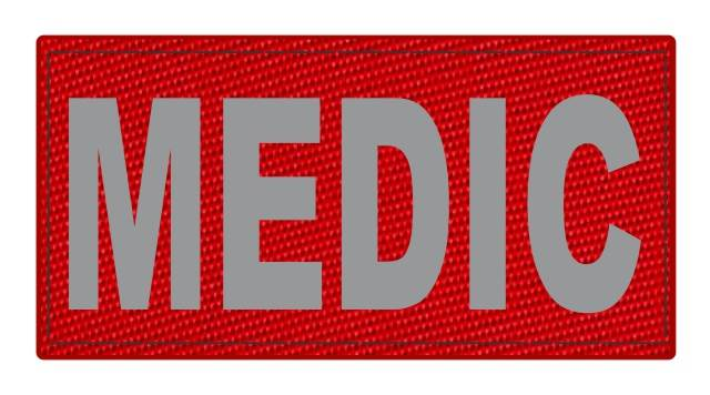 MEDIC Patch - 4x2 - Gray Lettering - Red Backing - Hook Fabric