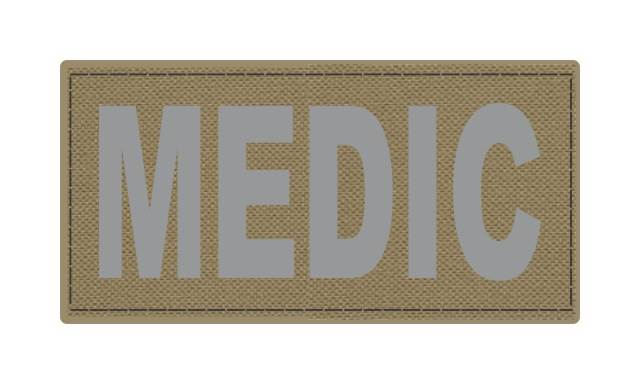 MEDIC Patch - 4x2 - Gray Lettering - Tan Backing - Hook Fabric