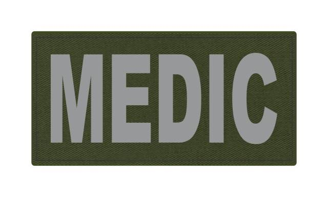 MEDIC Patch - 4x2 - Gray Lettering - OD Green Backing - Hook Fabric