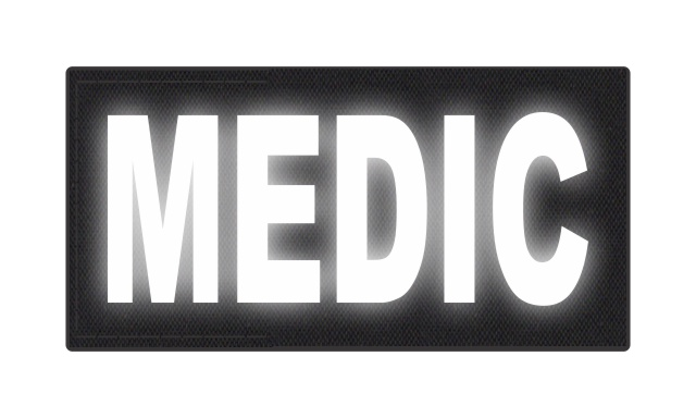 MEDIC Patch - 4x2 - Reflective White Lettering - Black Backing - Hook Fabric