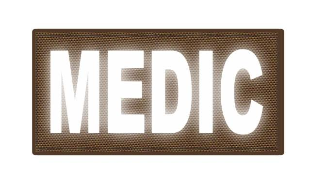 MEDIC Patch - 4x2 - Reflective White Lettering - Coyote Backing - Hook Fabric