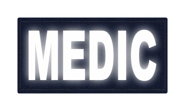 MEDIC Patch - 4x2 - Reflective White Lettering - Navy Backing - Hook Fabric