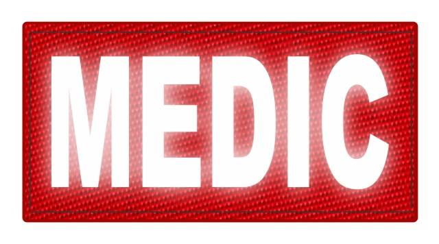 MEDIC Patch - 4x2 - Reflective White Lettering - Red Backing - Hook Fabric