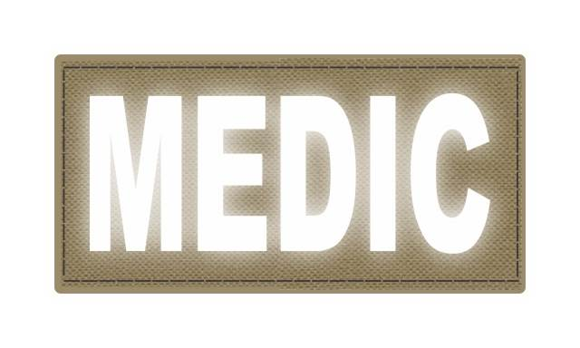 MEDIC Patch - 4x2 - Reflective White Lettering - Tan Backing - Hook Fabric