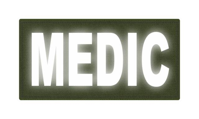 MEDIC Patch - 4x2 - Reflective White Lettering - OD Green Backing - Hook Fabric