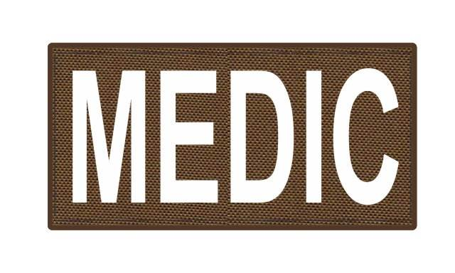 MEDIC Patch - 4x2 - White Lettering - Coyote Backing - Hook Fabric