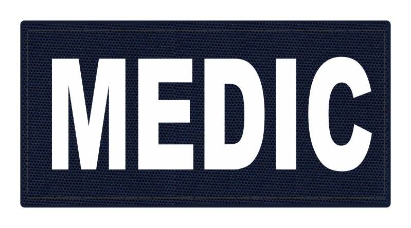 MEDIC Patch - 4x2 - White Lettering - Navy Backing - Hook Fabric