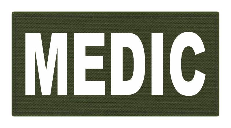 MEDIC Patch - 4x2 - White Lettering - OD Green Backing - Hook Fabric