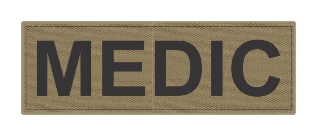 MEDIC Patch - 6x2 - Black Lettering - Tan Backing - Hook Fabric