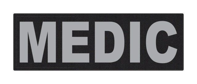 MEDIC Patch - 6x2 - Gray Lettering - Black Backing - Hook Fabric
