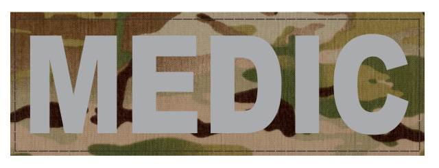 MEDIC Patch - 6x2 - Gray Lettering - Multicam Backing - Hook Fabric