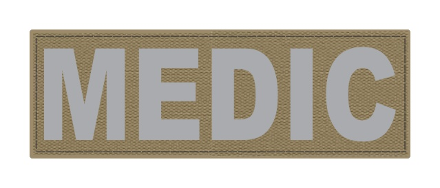 MEDIC Patch - 6x2 - Gray Lettering - Tan Backing - Hook Fabric