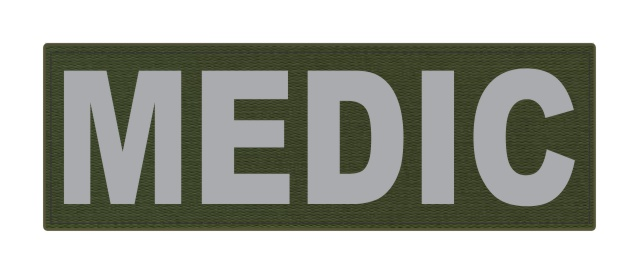 MEDIC Patch - 6x2 - Gray Lettering - OD Green Backing - Hook Fabric