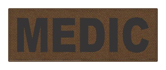 MEDIC Patch - 8.5x3.0 - Black Lettering - Coyote Backing - Hook Fabric