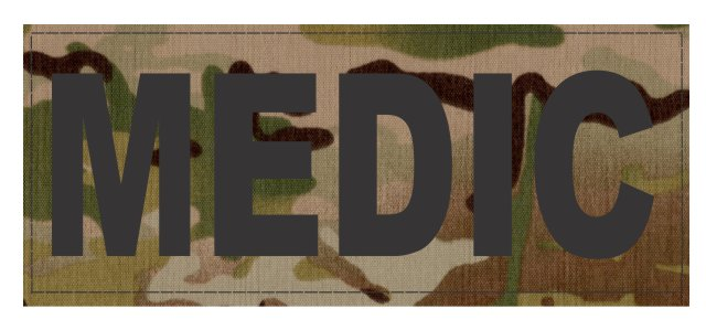MEDIC Patch - 8.5x3.0 - Black Lettering - Multicam Backing - Hook Fabric