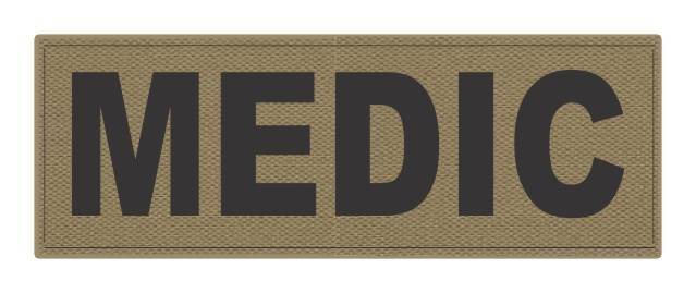 MEDIC Patch - 8.5x3.0 - Black Lettering - Tan Backing - Hook Fabric