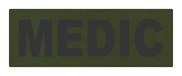 MEDIC Patch - 8.5x3.0 - Black Lettering - OD Green Backing - Hook Fabric
