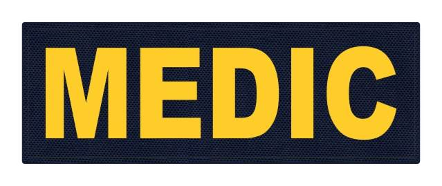MEDIC Patch - 8.5x3.0 - Gold Lettering - Navy Backing - Hook Fabric