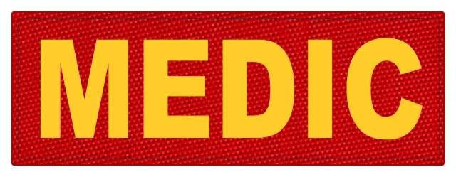 MEDIC Patch - 8.5x3.0 - Gold Lettering - Red Backing - Hook Fabric
