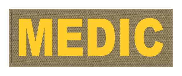MEDIC Patch - 8.5x3.0 - Gold Lettering - Tan Backing - Hook Fabric