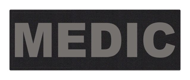 MEDIC Patch - 8.5x3.0 - Gray Lettering - Black Backing - Hook Fabric