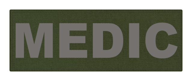 MEDIC Patch - 8.5x3.0 - Gray Lettering - OD Green Backing - Hook Fabric