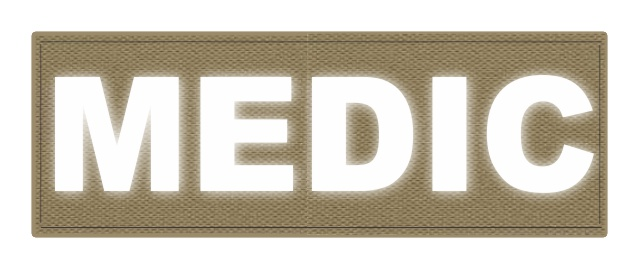 MEDIC Patch - 8.5x3.0 - Reflective White Lettering - Tan Backing - Hook Fabric