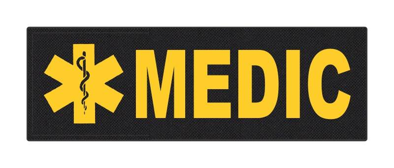 MEDIC Patch - Star of Life - 6x2 - Gold Lettering - Black Backing - Hook Fabric
