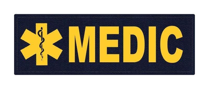 MEDIC Patch - Star of Life - 6x2 - Gold Lettering - Navy Backing - Hook Fabric