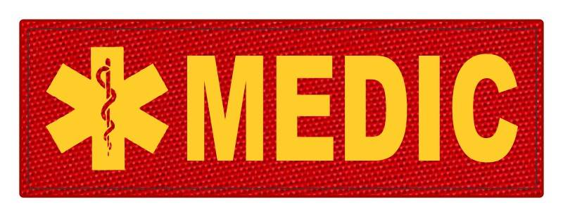 MEDIC Patch - Star of Life - 6x2 - Gold Lettering - Red Backing - Hook Fabric