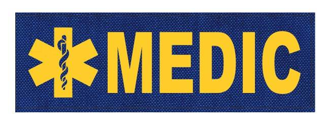 MEDIC Patch - Star of Life - 6x2 - Gold Lettering - Royal Blue Backing - Hook Fabric