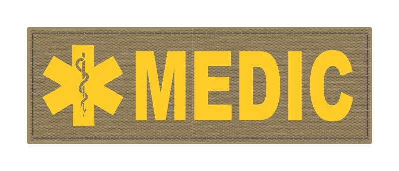 MEDIC Patch - Star of Life - 6x2 - Gold Lettering - Tan Backing - Hook Fabric
