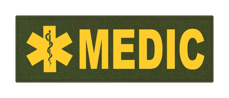MEDIC Patch - Star of Life - 6x2 - Gold Lettering - OD Green Backing - Hook Fabric