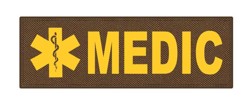 MEDIC Patch - Star of Life - 6x2 - Gold Lettering - Coyote Backing - Hook Fabric