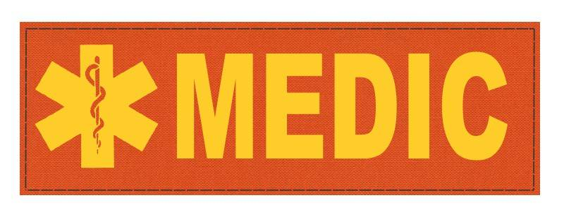 MEDIC Patch - Star of Life - 6x2 - Gold Lettering - Orange Backing - Hook Fabric