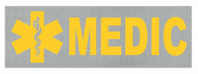 MEDIC Patch - Star of Life - 6x2 - Gold Lettering - Silver Backing - Hook Fabric
