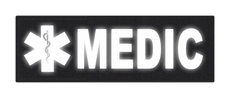 MEDIC Patch - Star of Life - 6x2 - Reflective Lettering - Black Backing - Hook Fabric