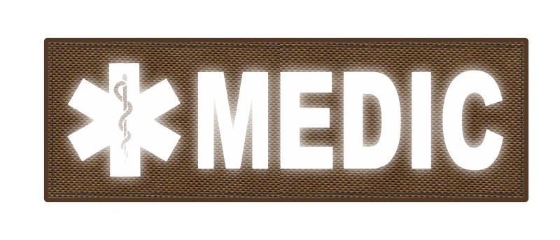 MEDIC Patch - Star of Life - 6x2 - Reflective Lettering - Coyote Backing - Hook Fabric