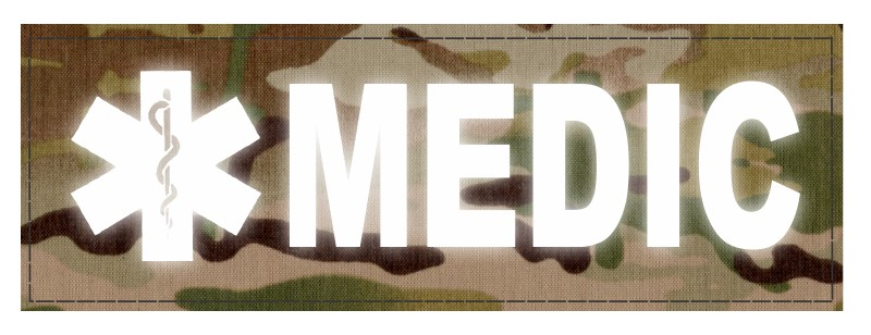 MEDIC Patch - Star of Life - 6x2 - Reflective Lettering - Multicam Backing - Hook Fabric